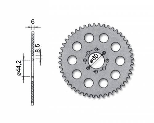 Hammasratas, taka, Yamaha DT50 -03, 52H
