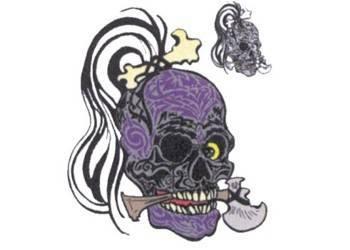 Tarra, pieni, 10x12cm, Pääkallo tatuoitu