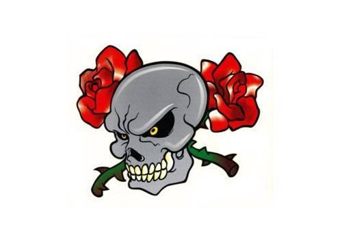 Tarra, normaali, 14x16cm, Pääkallo ruusu