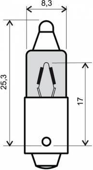 Polttimo, BAX9S halogen, 12V 6W, oranssi