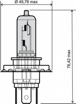Polttimo, H4, 12V 60/55W, sininen