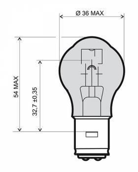 Polttimo, BA20D, 12V 35/35W, kirkas