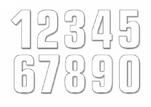 Blackbird -kilpanumerotarra, 13cm, valkoinen