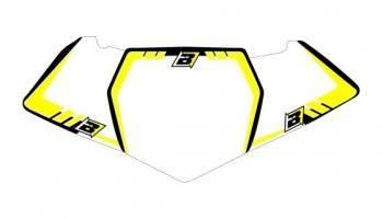 Blackbird Graphic -numeropohjat, valkoinen, Suzuki RM125 01-