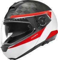 Schuberth C4 Pro Carbon -kypärä, Delta valkoinen/punainen