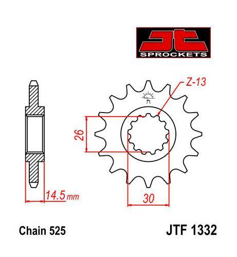 JT -hammasratas, etu, JTF 1332.16