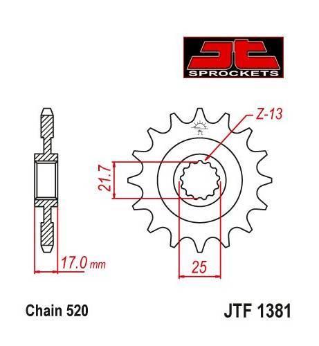 JT -hammasratas, etu, JTF 1381.15