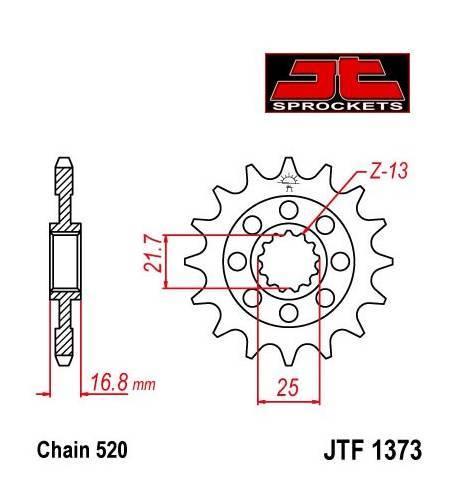 JT -hammasratas, etu, JTF 1373.17